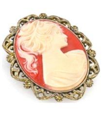 2028 gold-tone simulated orange cameo oval brooch