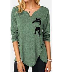 camicetta collo intagliata manica lunga stampata gatto del fumetto per le donne