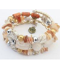 donna braccialetto lungo di stile bohemien alla moda con pietra a strass e perline colorata a multi-strati regalo per lui