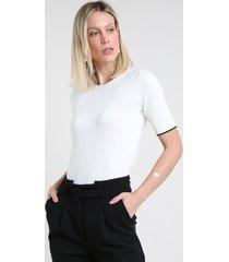 blusa feminina em tricô manga curta decote redondo branca