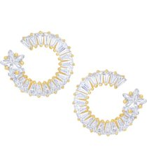 cubic zirconia baguette round star post fine gold plate earrings