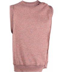 ader error asymmetric-draped knitted vest - red