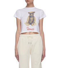 archive teddy bear print crop t-shirt