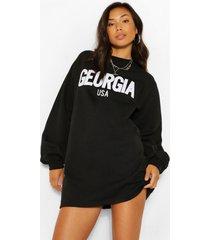 georgia applique slogan sweat dress, black