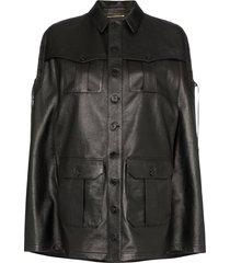 saint laurent lace-up detail cape jacket - black