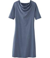 jurk met vrouwelijke watervalhals van bio-katoenen jersey, rookblauw 44