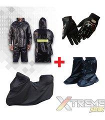 impermeable+pijama para moto con maletero+zapatones +guantes pro biker