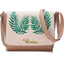 bolsa alice monteiro com tampa bordado folhas nude