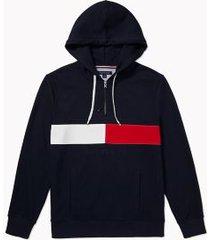tommy hilfiger men's adaptive heritage stripe hoodie sky captain - xxl