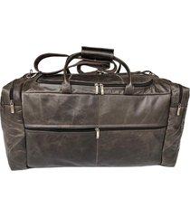 bolsa de viagem extra grande 100% couro - kesck couro marrom
