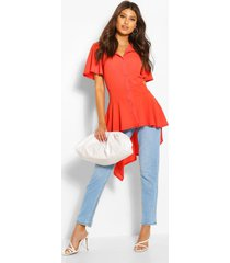 button front shirt with waterfall hem, orange
