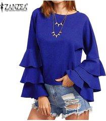 zanzea s-5xl para mujer primavera otoño camisa de manga larga sólido de bell blusas femininos señoras flojas mariposa fluncing colmena de blusas (azul) -azul