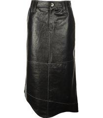 ganni lamb leather skirt