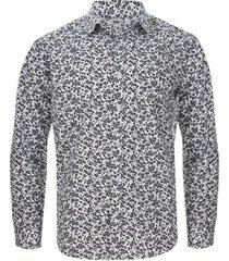 camisa estampada floral color negro, talla l