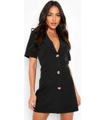 blazer jurk met uitgesneden rug en korte mouwen, black