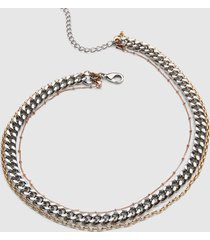 lane bryant women's 3-in-1 multi-layered chain necklace - tri-tone onesz mixed metal