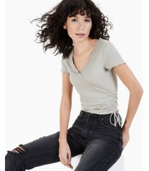 crave fame juniors' ribbed lace-trim top