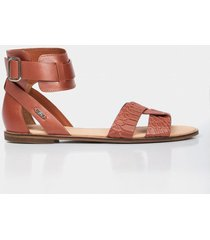 sandalia plana de cuero para mujer pulsera tobillo