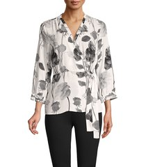 karl lagerfeld paris women's floral three-quarter sleeve top - soft white - size xs