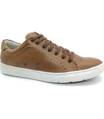 calçado sapatênis casual em couro kéffor cor bege linha vibe - kanui