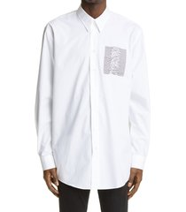 men's raf simons archive redux aw '03 oversize button-up shirt, size 36 us - white