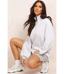 mix & match 1/2 zip sweat dress, grey marl
