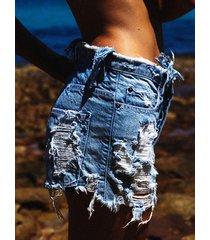 detalles rotos al azar en azul bolsillos diseño shorts de mezclilla