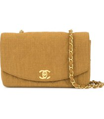 chanel pre-owned 1991-1994 cc single chain shoulder bag - brown