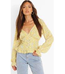 geweven bloemen blouse, yellow