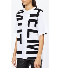 helmut lang women's helmut logo t-shirt logo - optic white/black - m - multi