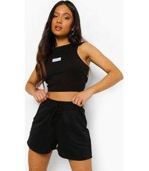 petite sweat shorts met strik, black