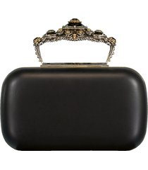 box leather clutch bag