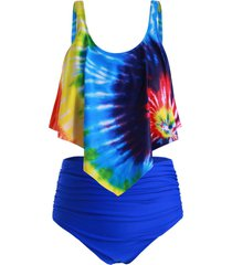 plus size ruffled tie dye ruched tankini swimsuit