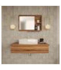 conjunto para banheiro bancada com cuba aria 41 retangular e espelheira city 801 nogal