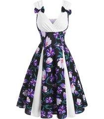 floral print bowknot godet dress
