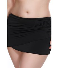 plus size women's elomi essentials skirted swim bottoms, size 18 - black