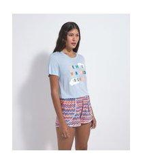 pijama curto em viscolycra estampa dreaming | lov | azul | p
