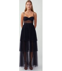 black corset tiered gown