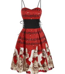 christmas musical note cat lace up party dress