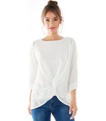 yoins blanco redondo cuello blusa de gasa retorcida de doble capa