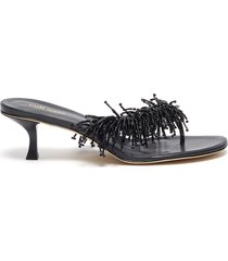 hera beaded tassel heeled leather thong sandals