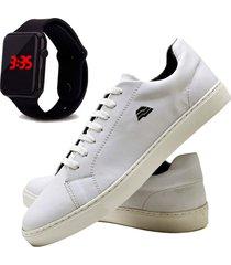 sapatãªnis sapato casual com relã³gio led dubuy t10db branco - branco - masculino - sintã©tico - dafiti