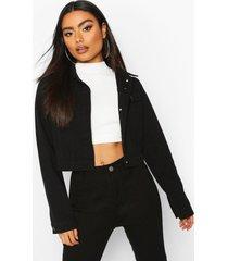 boxy jean jacket, black