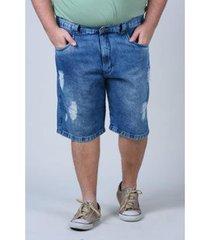 bermuda jeans kaue plus size com detalhe de rasgos plus size jeans masculina - masculino