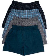 hanes men's platinum underwear, plaid woven boxer 4 pack