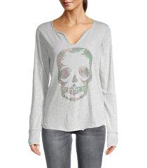 zadig & voltaire women's tunisien camo strass skull henley - grey - size s