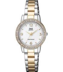 reloj para dama elegante q&q qa27j404y bicolor
