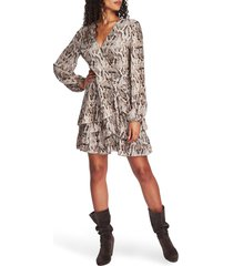 1.state sultry snake ruffled long sleeve wrap front dress, size 8 in birch multi at nordstrom