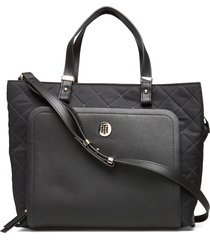 th elegant tote quil bags top handle bags zwart tommy hilfiger