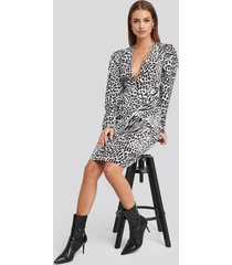 na-kd deep v neck balloon sleeve dress - multicolor